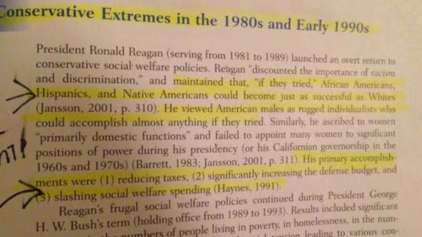 Anti-Regan comments in textbook