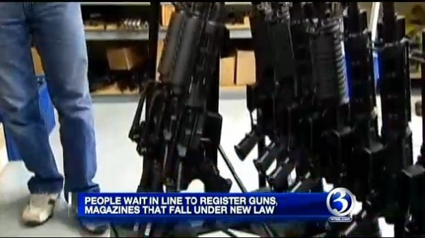 Connecticut Gun Owners wait in line to register guns, magazines