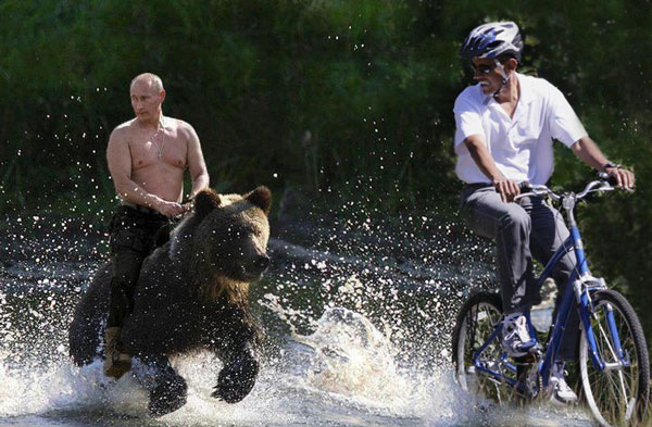 Putin Chases Biking Obama on a Bear